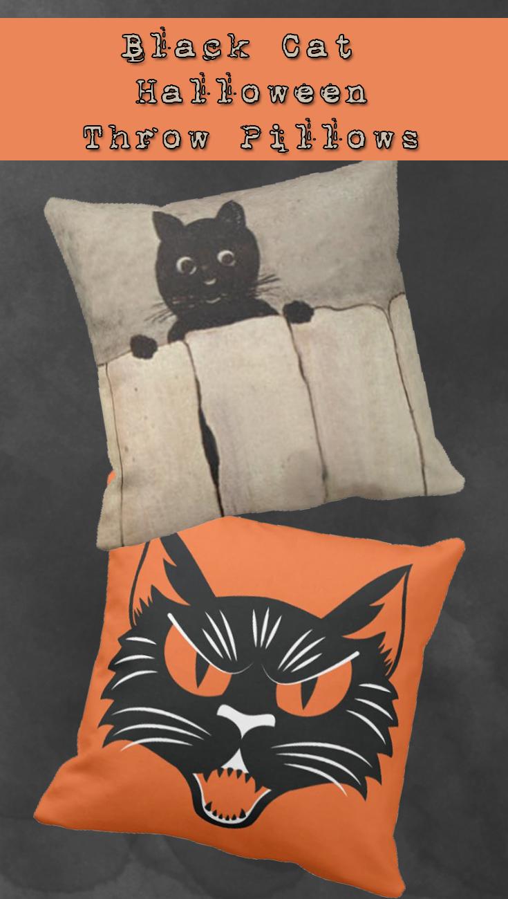 Black Cat Halloween Throw Pillows