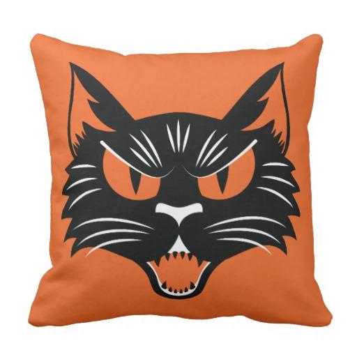 Halloween Black Cat Throw Pillows