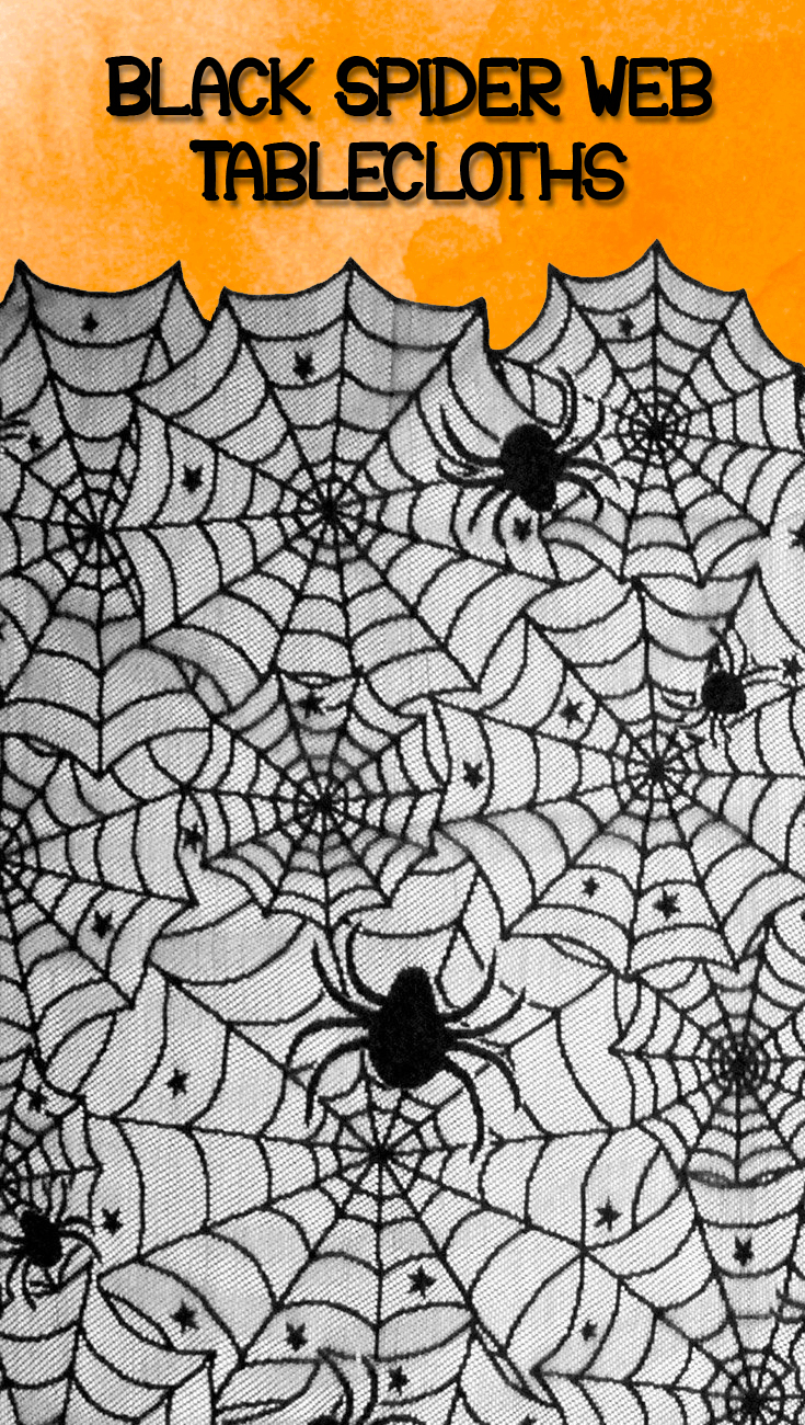 Black Spider Web Tablecloths